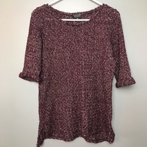 Topshop Woman's Sweater Size 2 Color Burgundy Tan